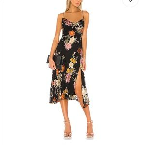 ASTR Gaia floral cowl neck midi satin slip dress